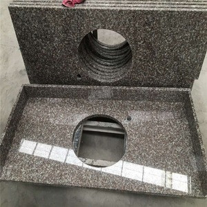 Chima pink granite 664 countertops with double sinks cut out