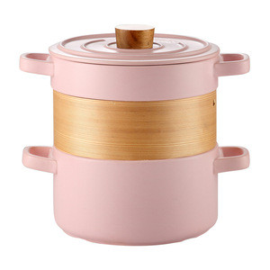Chinese-style ceramic steamer casserole with open flame and high temperature resistance home multi-function stack pot porridge s