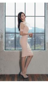 Fashion Ladies Wearing Summer Pink Customized Bodycon Mesh Cotton Quality Dress