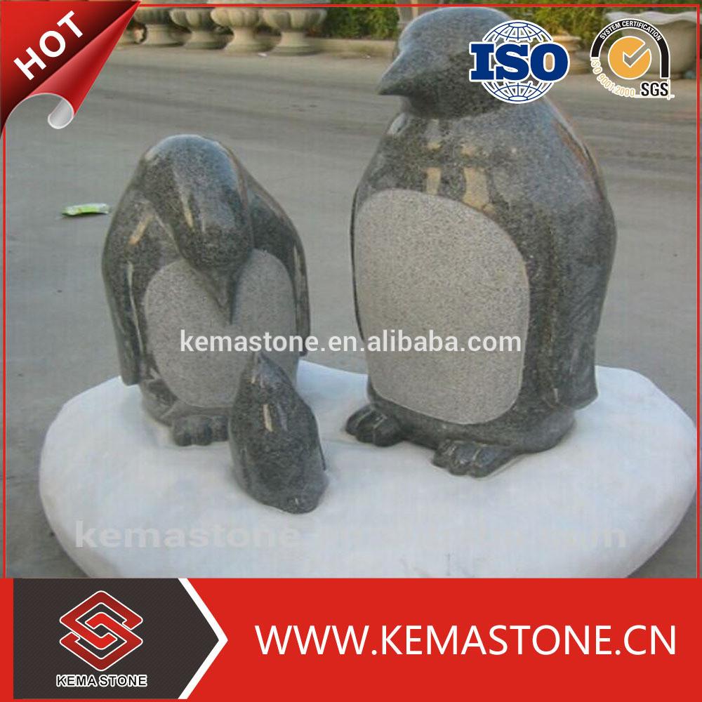 Garden natural granite stone penguin sculpture