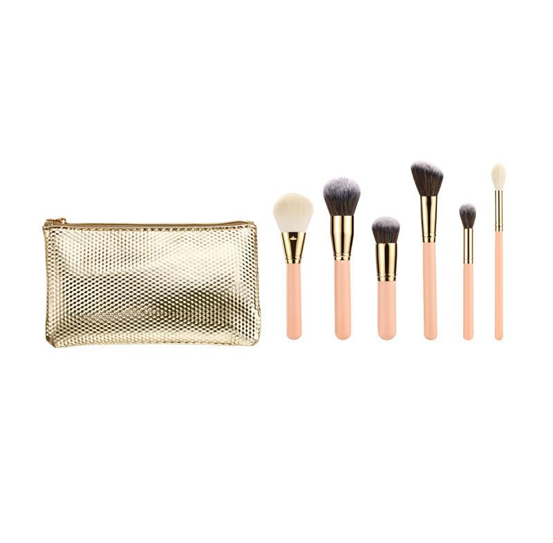 High Quality 6PCS Synthetic Hair Makeup Brush Set with Zipper Bag