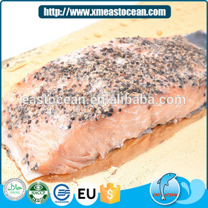 Newest salted fillet seafood snack smoked fish cut salmon fish frozen