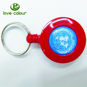 Retractable Reel Recoil Pull Key Ring Chain Cord Carabiner Belt Clip Ski Pass ID Card Badge Holder