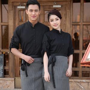 Spring/Fall Hotel Work Clothing Sets Women&Men Fast Food Restaurant Waiter Uniforms Top+Apron 2pcs Western Hotel Workwear