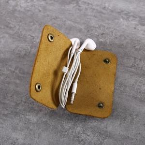 Top Grain Cowhide Earphone Holders Genuine Leather Earphone Cable Winder