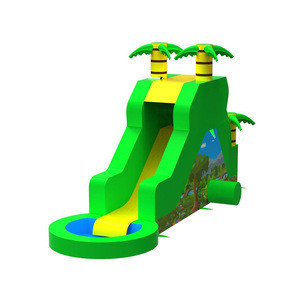 Water park for kids green tree inflatable water slides with pool