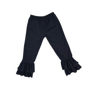 Wholesale Children Boutique Clothing Denim Icing Ruffle Pants Baby Clothes Children Ruffle Pants