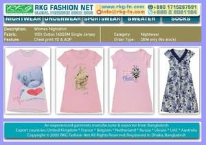Women cotton jersey nightshirt