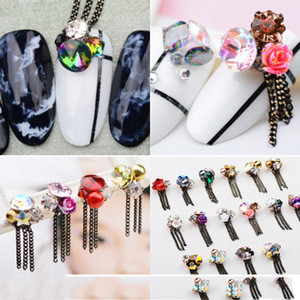 XULIN Japanese Nail Gem Stone 3D Nail Art Chain with Tassels for Other Nail Supplies