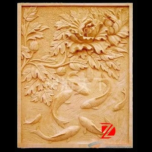 Yellow sandstone flower relief with fish carving