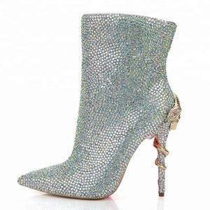 2018 Winter High Heel Ladies Snake Heel Diamond Pointed Toe Ankle Boots