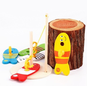 2020 new high quality wooden fishing game preschool interesting children wooden fishing toys wooden toys