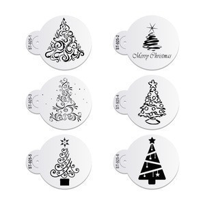 6pcs/set Christmas Tree Cake Stencil Wedding Party Cake Cookie Mould Cupcake Decoration Template Cake Tool
