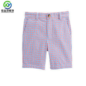 Checked printed shorts custom kids top quality boys golf shorts