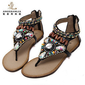 China suppliers boho ethnic style crystal Toe sandals with zipper