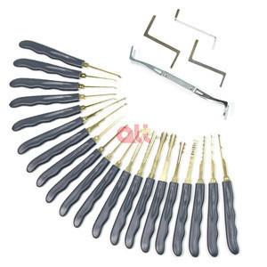 Durable Home Repair Tool Set Kit,24 Pcs Stainless Steel Multitool Lock Set Locksmith Tools With 2 Clear Transparent padlock