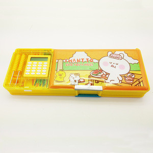 Good quality multi purposed two sides plastic pencil case with mathematics tools for children gift