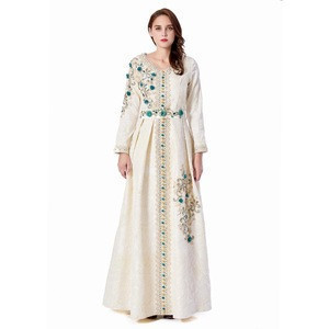New 3D Sequined Flower embroidery Beading Arab Luxury  Kaftan  Printed Fabric Party Wedding  Long Sleeves Dress