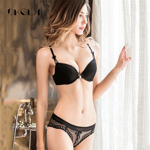 Push up bra brief sets women Front Closure bra underwear sets white lingerie set