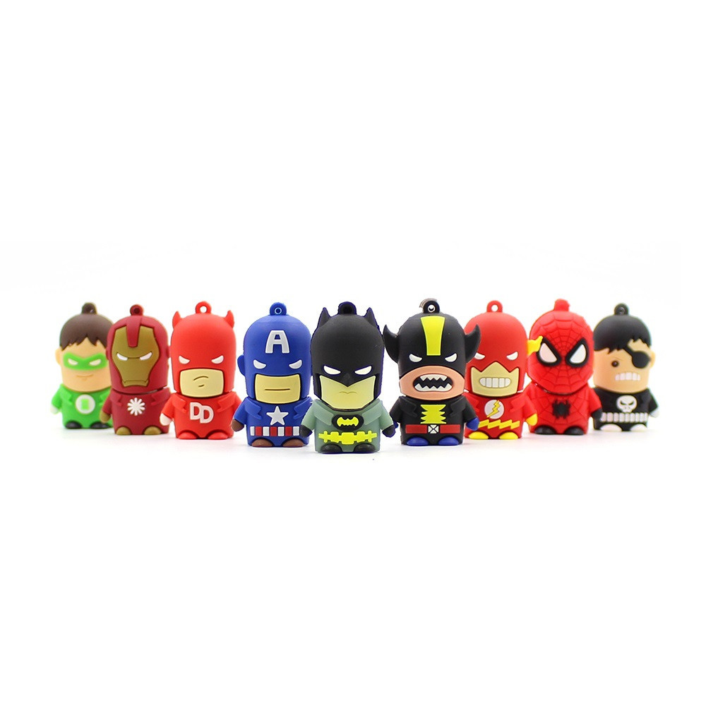 Q Spider Most Popular Silicone Cartoon Hero Series USB 2.0 Flash Drive For Kids Gift Memory Stick