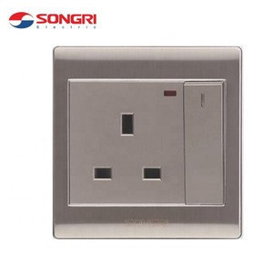 Songri Industrial Stainless Steel 13a Electrical Surface Wall Indicator Switch and Sockets Bs