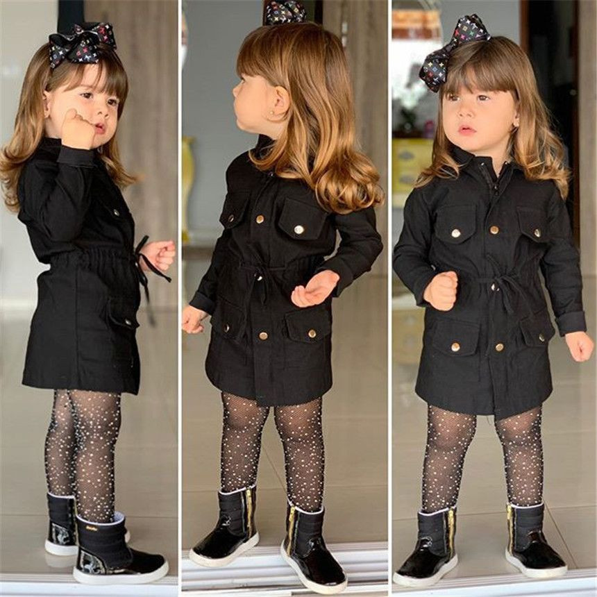 Spring Autumn Jackets For Baby Girls Pure Color Coat Children Zipper Outerwear Baby Windbreaker Handsome Black Tops 2-7Y