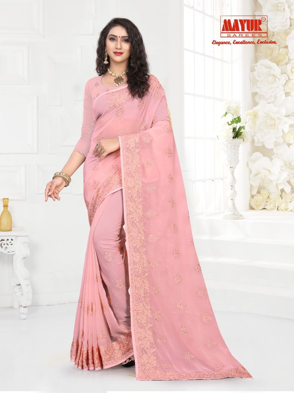 Party Wear Poly Silk Saree, With Blouse Piece, 6.3 m (With Blouse Piece)