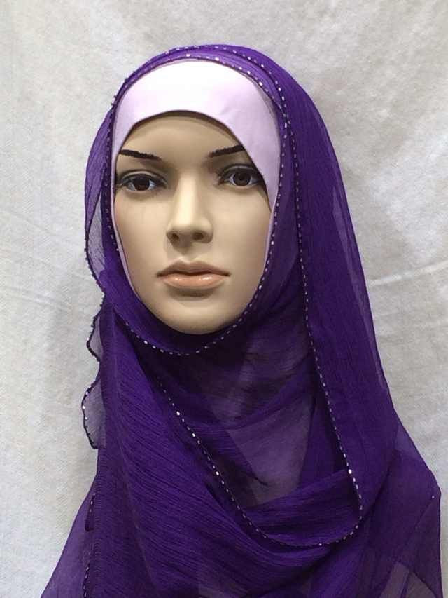 Beaded crinkle silk hijab