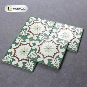 Balcony 200x200mm green flower pattern floor decoration porcelain tiles floor tiles pattern ceramic tile