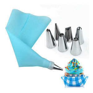 Cake Tools Silicone Pastry Bag with Stainless Steel Nozzles Silicone Icing Piping Cream Pastry Bag Cake Baking Products