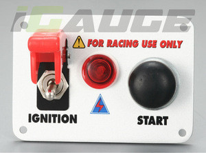 Car Race Flip Up Cover Push Button Start Power Switch Panel Kit Racing Ignition Switch