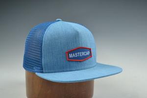 Custom 5 panels flat brim snapback cap mesh cap with woven patch and hemp fabric