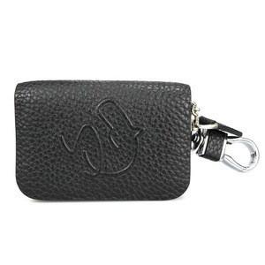 Durable customized logo lichi pattern zipper key wallet genuine leather key case for car