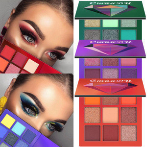 Glitter Eyeshadow Palette 9 Colors Diamond Brighten Pigment Eye Shadow Make Up Charming Beauty Cosmetic Tool