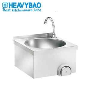 Heavybao Kitchen Stainless Steel Knee Operated Round Sink Wash Basin