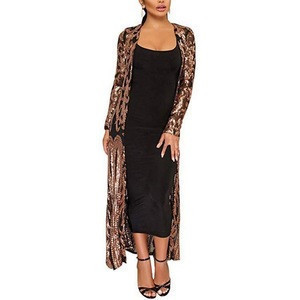 Hot sell casual Women's Sequins Open Front Long Sleeve Club Cardigan Evening dresses