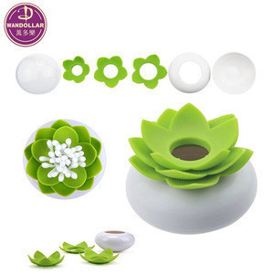 Lotus Cotton Swab Holder Box Case Storage Organizer Jar with Clear Lid Dustproof Cover