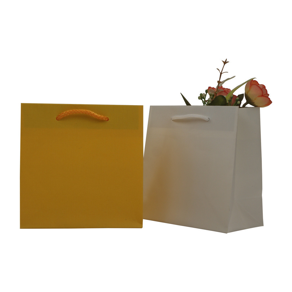 Luxury Colorful No Printing Gift Shopping Paper Wrapping Bag with Cotton Handles