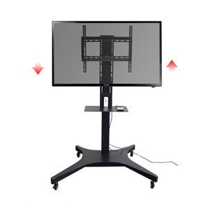 Metal Adjustable Lcd Mobile Tv Stand Cart Electric With Wheels