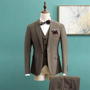 Plaid single breasted formal slim long mtm man suit