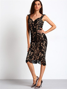 Sexy ladies bodycon lace hollow out black party dress