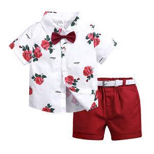 Summer Boys Clothing Sets Children Clothing Set Kids Boy Clothes Flower Shirts + Shorts 2PCS Gentleman Suit with Bowtie Belt