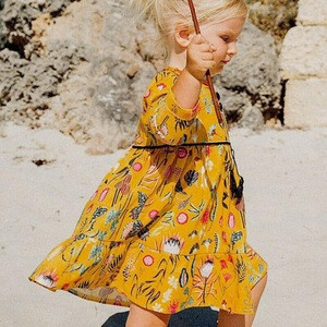 Summer Kid Girls Casual Flower Butterfly Pattern Long Sleeves Yellow Cotton Dress