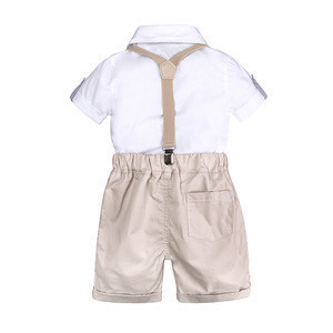 Summer style baby boy clothing sets newborn infant clothing 2pcs short sleeve shirt + suspenders shorts gentleman suits