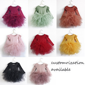 Wholesale customrization fairy fluffy dancewear oliva autumn winter dress baby tutus