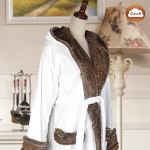 Womens Bathrobe New Soft Cony Hair Fur Shawl Collar Ladies Dressing Gown Housecoat
