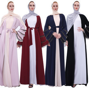 Womens open front belt kimono abaya islamic dress with three layers crystal handmade beads border on cuff
