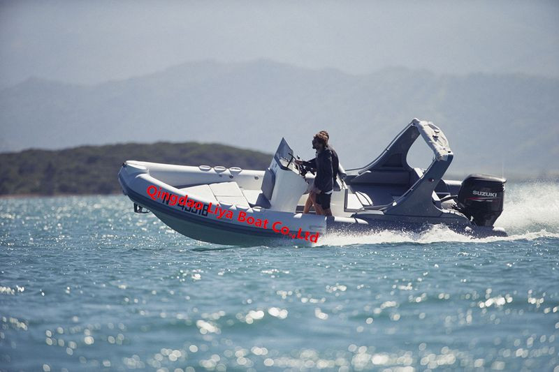 Liya 6.6m hypalon/pvc rigid inflatable boat with outboard motor