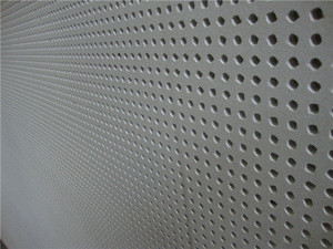 Acoustic plasterboard with round hole