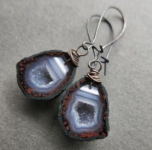 BD-E1643 Tabasco Geode Earrings Raw Stone Druzy Boho Crystal Earrings Raw Gemstone Jewelry